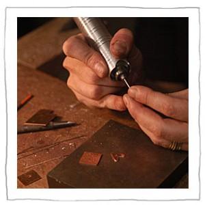 Lisa Colby metalsmith working