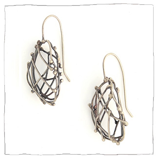 Texture handmade silver earrings by Lisa Colby, metalsmith